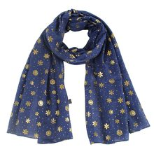 Christmas Chiffon Scarf Women Snowflake Printed Long Shawl Soft Silk Scarves Manteau Femme Hiver Xmas Wrap Scarf For Women(China)