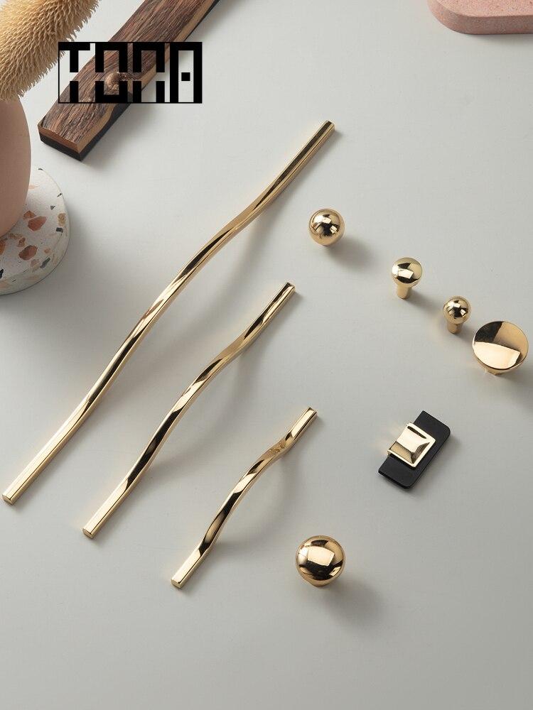 TONA doré armoire poignée armoire tire tiroir tire boutons dorés et poignées meubles matériel armoire boutons