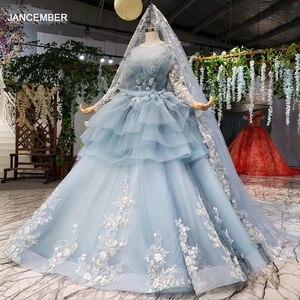 Image 1 - HTL908 الضوء الأزرق الكرة ثوب 2020 Quinceanera فستان بأكمام طويلة الكرة ثوب الحلو 16 فستان يزين فساتين لحضور الحفلات الموسيقية Vestidos