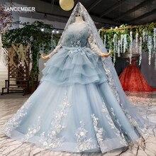 Htl908 luz azul vestido de baile 2020 quinceanera vestido de mangas compridas vestido de baile doce 16 vestido apliques vestidos de baile vestidos