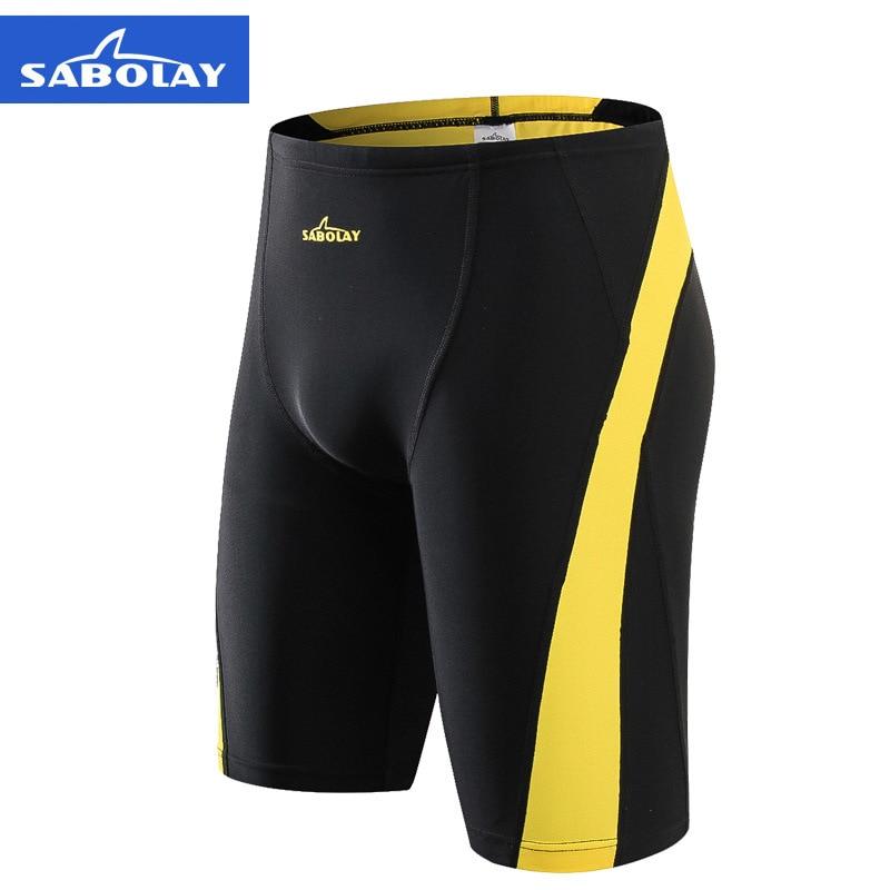 SABOLAY Men Swimsuit 2019 Anti Chlorinate Dry Sunscreen Spandex Swimming Shorts Swimwear Beach Surf Briefs Swim Trunks Plus Size