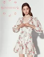 EASYSMALL Zimmer Frauen kleid Mode Land stil Frische high-end Vestidos party abend Taille bandage Hohe Taille kurze Kleider