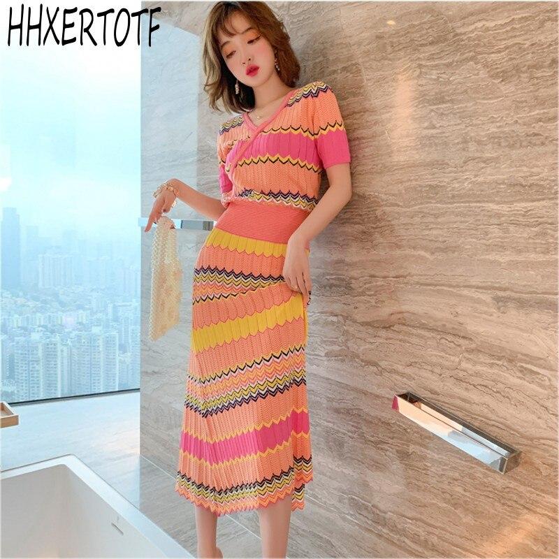 2020 Summer  Fashion   2 Piece Knit Set Women Short Sleeve Elegant Temperament V-neck Tops+Elastic Waist Stripe Skirts Set