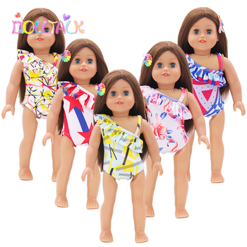 цена на Dolls Accessories Lovely Fashion Bikini + Hairpin Doll Clothes Fit 18 inch American Doll Girl Toy Accessories Baby Doll Reborn