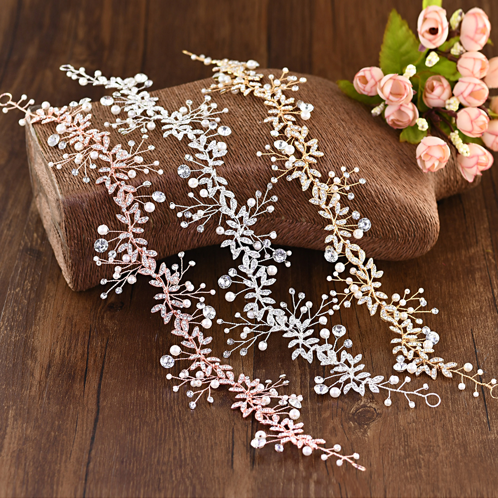 TRiXY H233 3 Colors Wedding Headband Crystal Newest Design Bridal Crown Wholesale Bridal Hair Accessories Wedding Hair Tiara