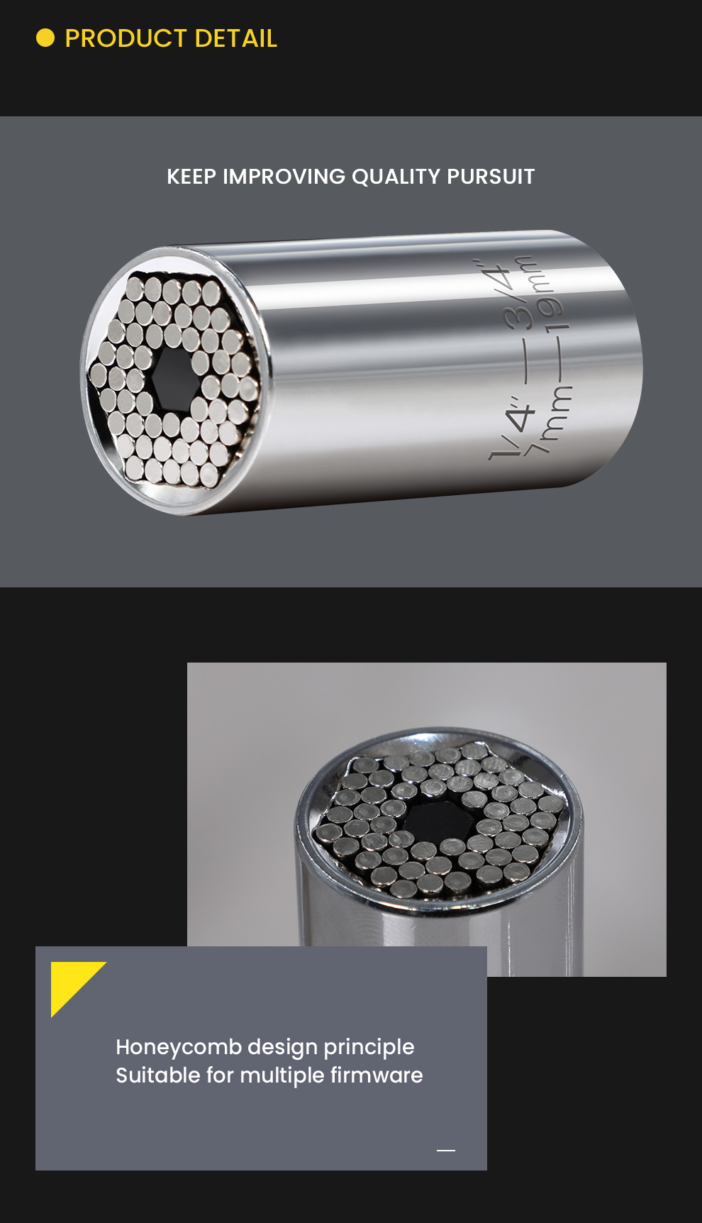 Manual Electric Universal Magic Sleeve 7~19mm Range of Special-shaped Screw Removal Chromium -vanadium Steel