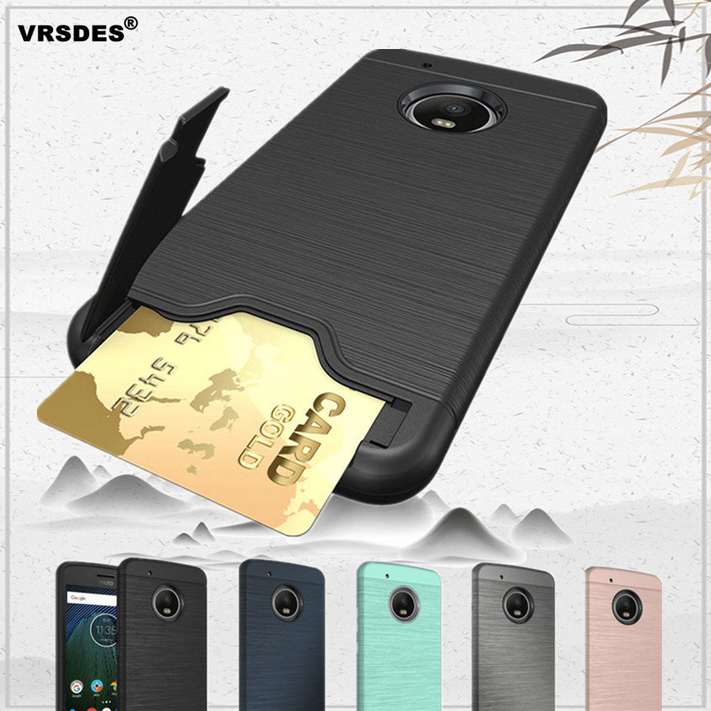 For Motorola Moto G4 G5 G5S Plus Brushed Armor Silicone Rubber Wallet Phone Case For Moto G5 Plus G5S G4 Card Slots Holder Case image