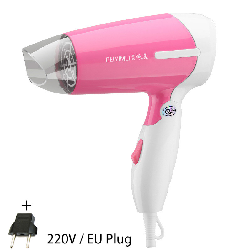 850W  Mini Foldable Hair Dryer Blower Travel Household Electric Hair Blow Dryer Hot Wind Low Noise Hairdryer EU Plug AC 220V