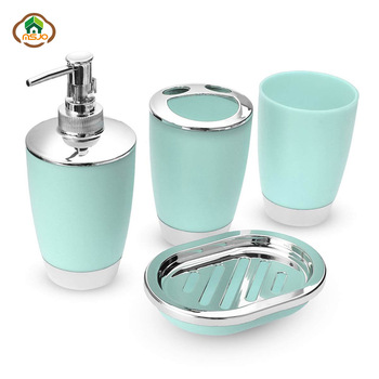 MSJO Bathroom Set 4PCS Soap Dish Dispenser Bottle Washroom Toothbrush Holder Cup Suit Home Decoration Accessories europe 5pcs pink ceramic toothbrush holder cup soap dish shampoo bottle dispenser eco friendly couple bathroom accessories set
