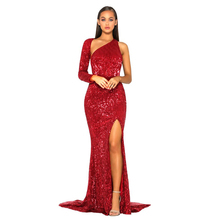 Sexy Backless Red Sequined Maxi Dress One Shoulder Split Leg Floor Length Evening Party Long Dress цена 2017