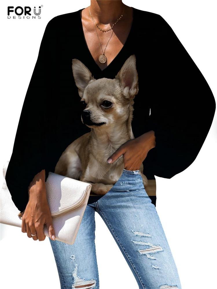 FORUDESIGNS Harajuku Style Kawaii Chihuahua Blouse Casual Loose Long Sleeve V-neck Shirt Girls Shirts Dropshipping