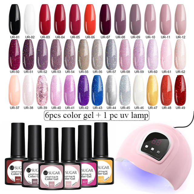UR SUGAR Gel Nail Polish Set UV Gel Polish 6PCS Nail Kit with UV Lamp Top Coat Set For Nail Art Varnish  1