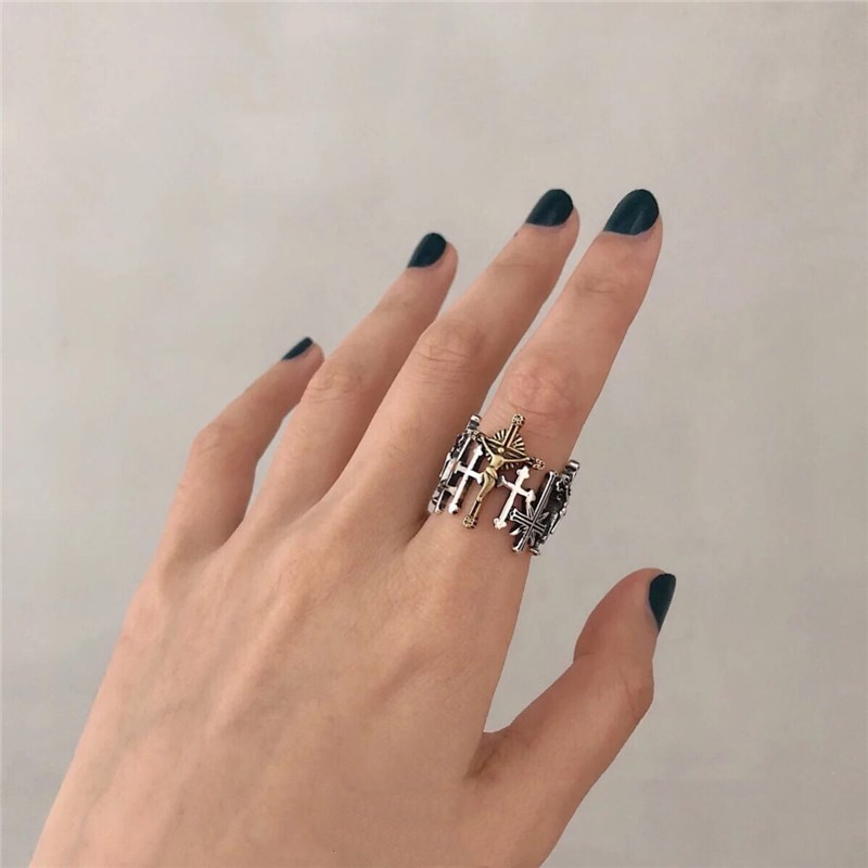 Female Vintage Cross Ring Retro Love And Redemption Personality Gothic Openning Ring For Women Party Jewelry