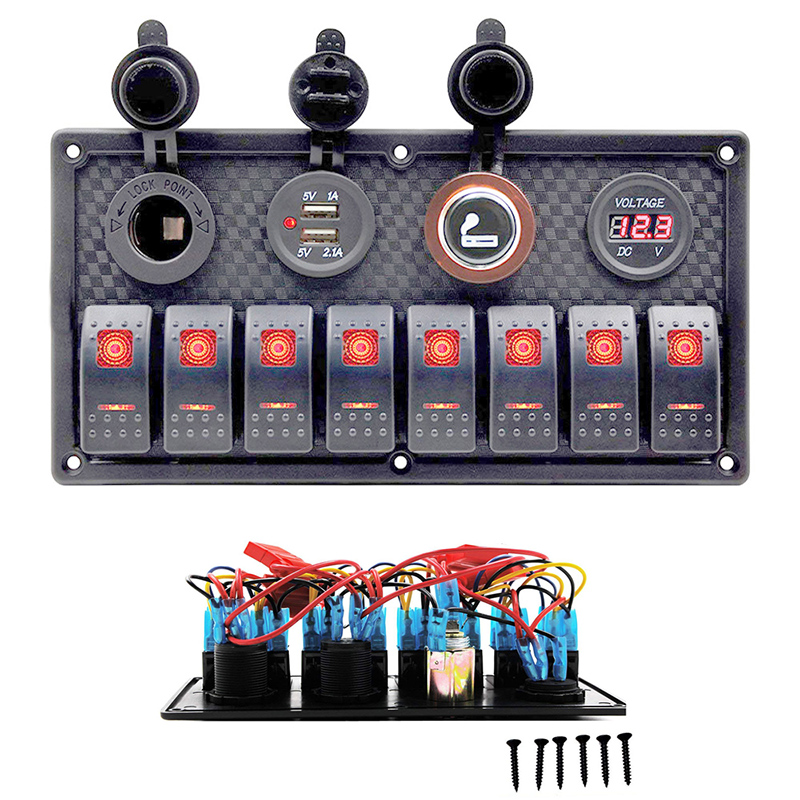 Led Rocker Switch Panel Dc12 24v Power Socket Wiring Kits For Marine Boat Car Rv Switch Panel With Dual Usb Port Voltmeter Car Switches Relays Aliexpress