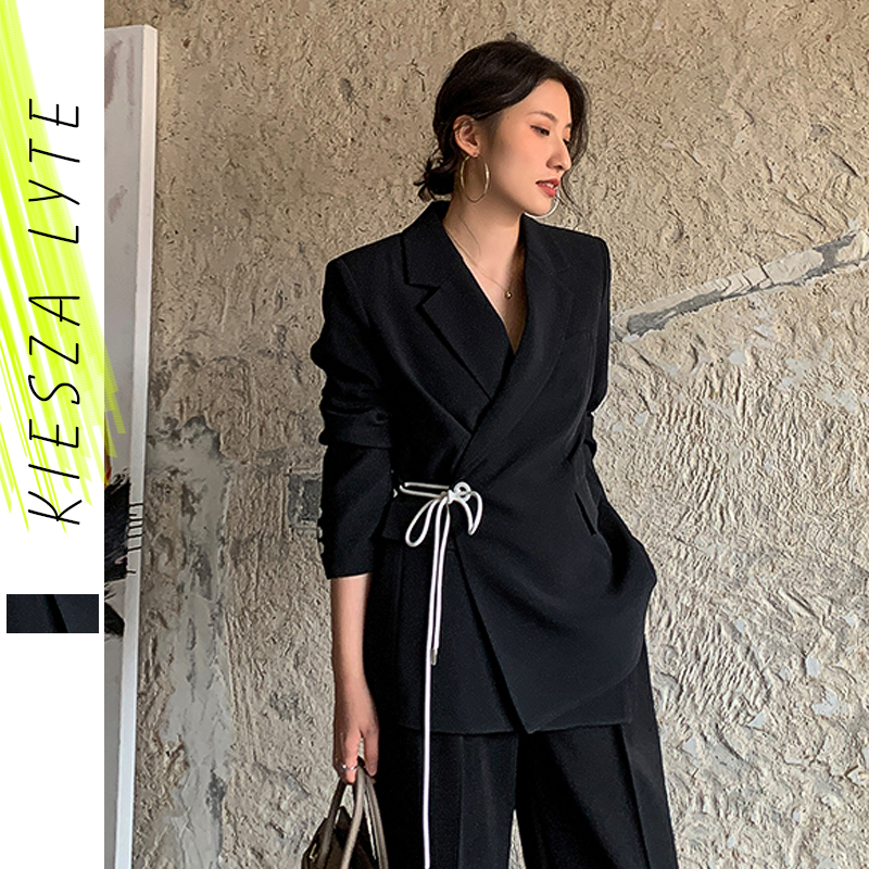 Women Blazer Jacket Casual Wrap Lace Up Work Office Lady Black Blazers Female 2020 New Fashion Suits Coat Outwear