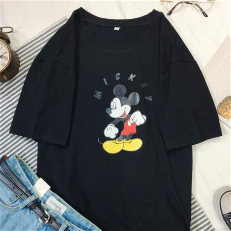Plus Size Mickey Women T-Shirt Cotton Loose Ladies Tops T-shirt Female Mickey Tshirt Women Tee Clothes Mickey Tops For Women