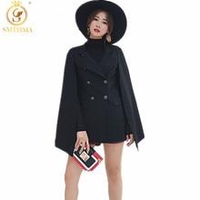 SMTHMA, осенне-зимнее женское пальто, красивый плащ, одноцветное твидовое пончо, Женская свободная теплая верхняя одежда, кашемировое пальто