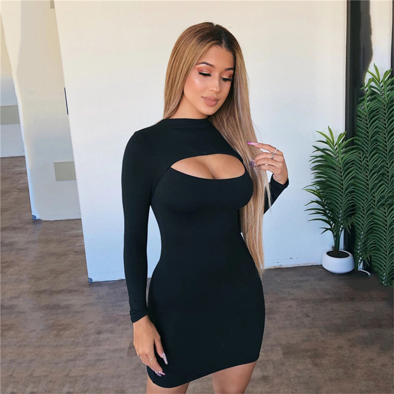 hollow out long sleeve dress10