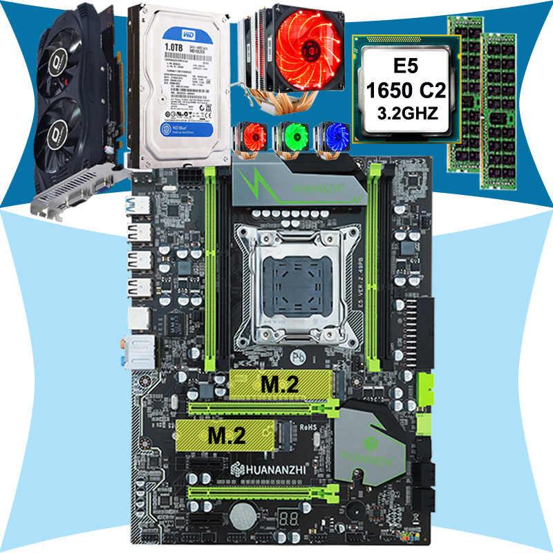 حار هوانان X79 اللوحة وحدة المعالجة المركزية زيون E5 1650 SROKZ 6 heatpipes برودة RAM 16G (2*8G) DDR3 RECC 1 تيرا بايت SATA HDD GTX750Ti 2G الفيديو بطاقة