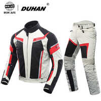 DUHAN Men Motorcycle Suit Racing Jacket+Motorcycle Pants Breathable Women Jacket Lovers Suits Motorcycle Riding Pants Clothing