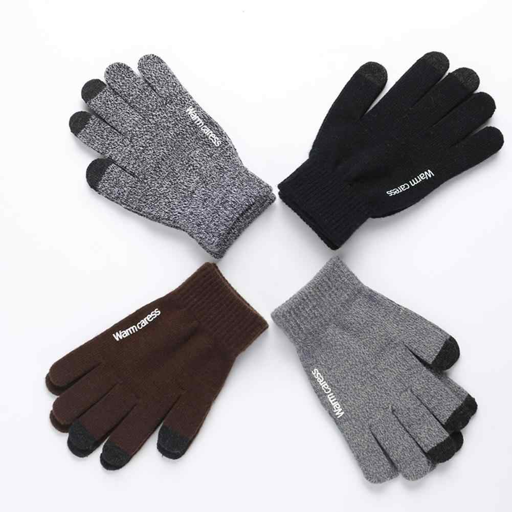 Fashion 1 Pair Winter Anti-skid Warm Touch Screen Full Finger Knitted Unisex Gloves Better Warm Winter Men Gloves Full Finger M