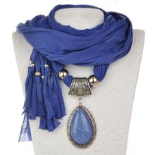 flow-Su polyester scarf, S-shaped water-drop, tear-bead resin pendant, female, 180x40cm pendant scarf