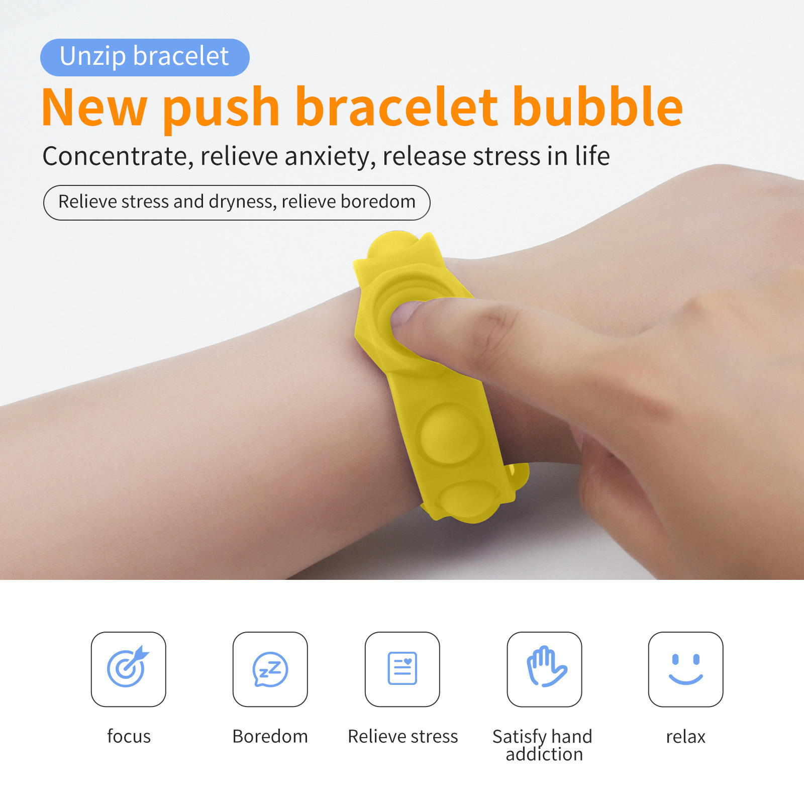 Decompression Bracelet Toys Press-Massage-Toy Fidget Hand-Figet Relief Pops-It-Stress img2