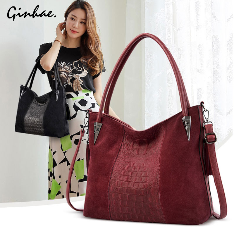 2019 Fashion New Women Faux Suede Shoulder Bag Nubuck PU Leather Handbags Vintage Tassel Hobo Bags Female Casual Crossbody Bag