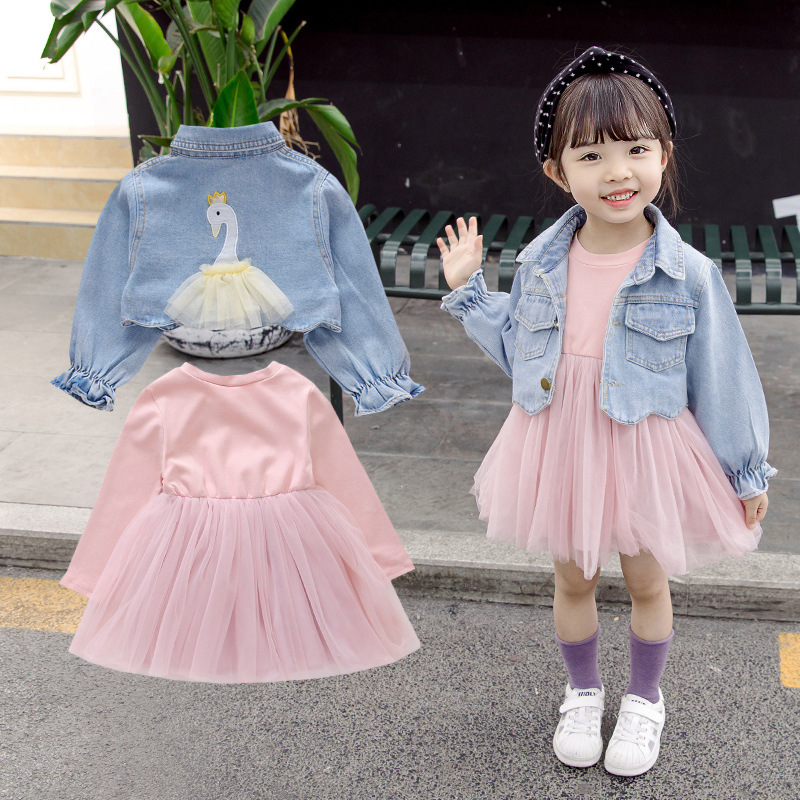 2020 newborn suit denim jacket baby girl first birthday party wearing cute sleeveless toddler fashion girl suit0-4T 1