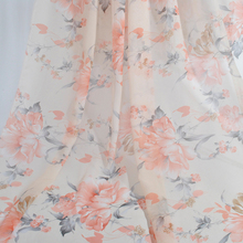 цена на Peach Floral Chiffon Fabric By the Metre, Soft Lightweight Beige Flower Polyester Printed Fabric For Summer Dress, 150CM Wide