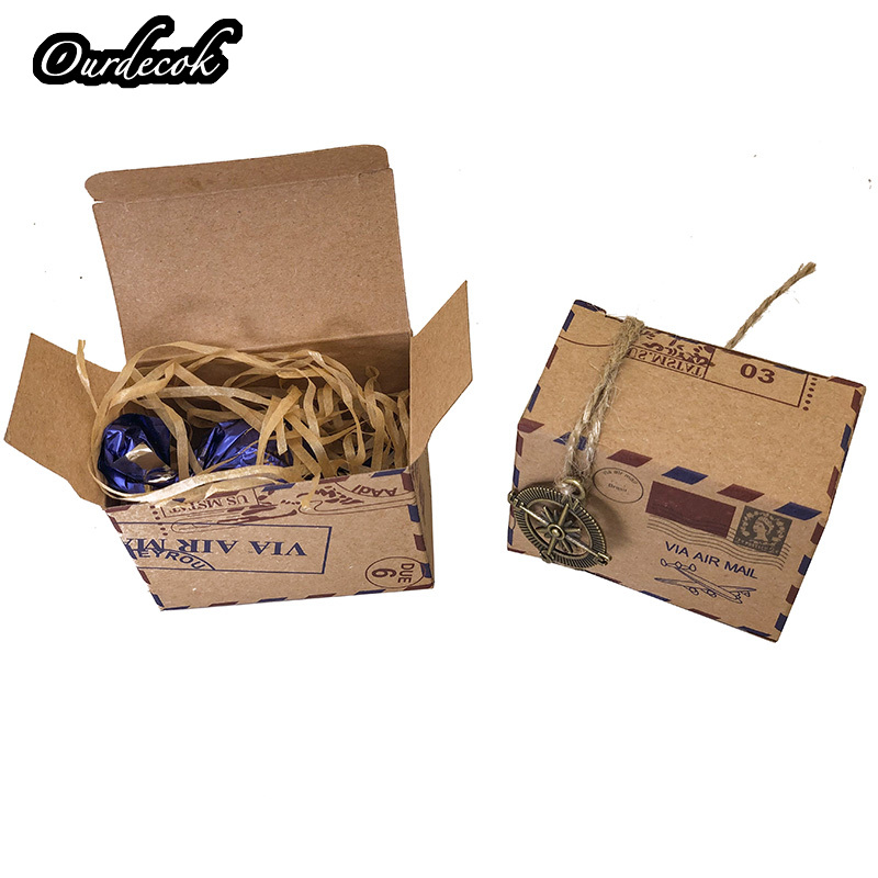 Image 4 - 100pcs Vintage Favors Kraft Paper Candy Box Travel Theme Airplane Air Mail Gift Packaging Box Wedding Souvenirs scatole regalo-in Gift Bags & Wrapping Supplies from Home & Garden