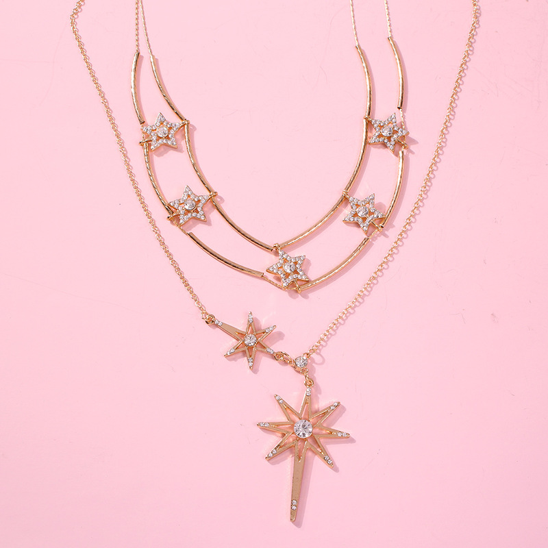 2019 Stars Chain Necklaces Pendants For Women Multiple Star Pendant Necklaces Charm Jewelry in Chain Necklaces from Jewelry Accessories