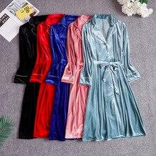Шелковистый халат для спальни, сексуальное женское велюровое кимоно, ночное белье, ночной халат, зимняя женская домашняя одежда, ночная рубашка, банное платье, ночные рубашки