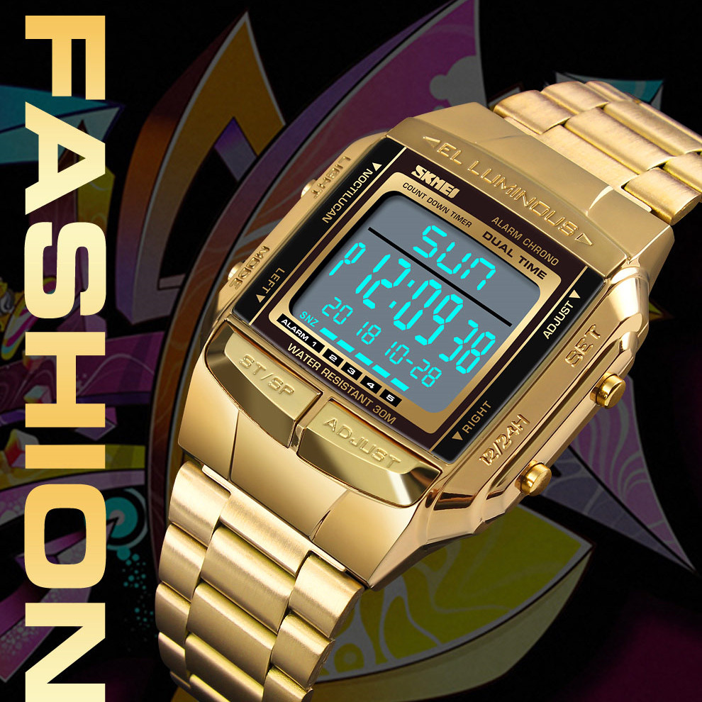 <font><b>SKMEI</b></font> Sports Watch Men Digital Watches Alarm Clock Countdown hour Large Dial Glass Mirror Gold Clock Fashion Outdoor waterproof image