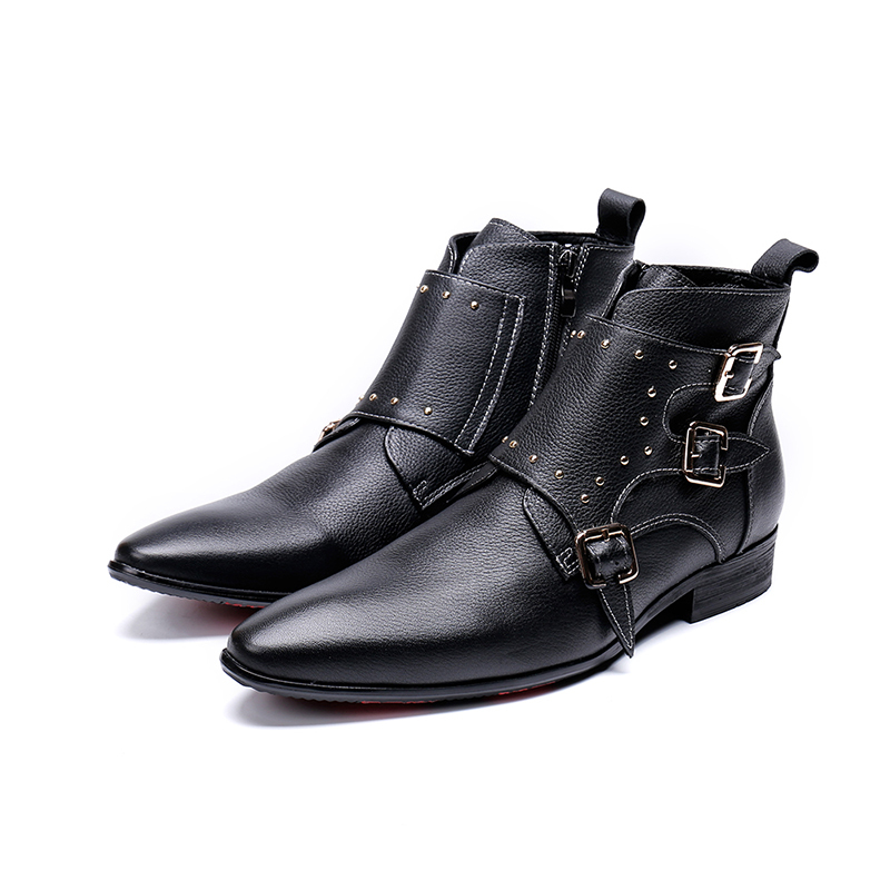 Genuine Leather 3 Buckles Zip  Ankle Boots Fashion Rivet  Oxford Pointed Toe Martin Boots Big Size 46