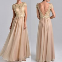 2019 Latest Low V Back Party Gowns Chiffon Vestido de Festa Longo Champagne Gold Short Sleeve Mother of the Bride Dress