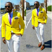 2 PCS Men's Suits Yellow Jacket And White Pants Blazer Groom Tuxedos Dinner Party Suit Custom Prom Business Suit Trajes De Niño(China)