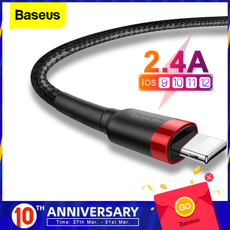 Baseus USB Cable For IPhone XS Max XR X 8 7 6 6s Plus 5 5S SE IPad Pro 2.4A Fast Charging Charger Data Cord Mobile Phone Cables