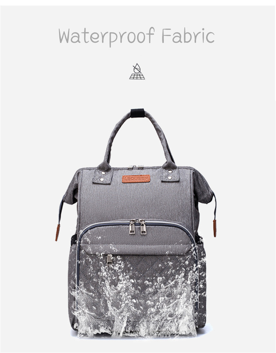Ha7f6dde89ce340e4915a31d4bc725ef1N LEQUEEN Diaper Bag Pure Color Men's Mummy Baby Care Nappy Bag 44CM Large Capacity Waterproof Business Backpack Travel Bag