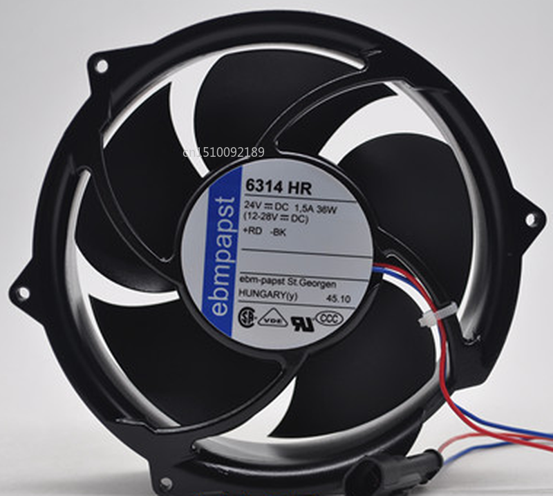 Free Shipping For Ebmpapst 6314 HR 6314HR DC 24V 1.5A 36W 2-wire 172x172x51mm Server Cooler Fan