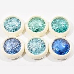 6Boxes/set 3 ml/ Box Iridescent Nail Glitter Mix 0.1-2mm Chunky Fine Mixed Nail Glitter Powder Sequins Powder For UV Gel Glitter