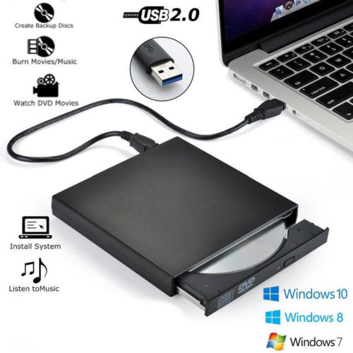 External DVD Drive Optical Drive USB 2.0 High Speed CD ROM Player CD-RW Burner Writer Reader Recorder for Laptop PC HP