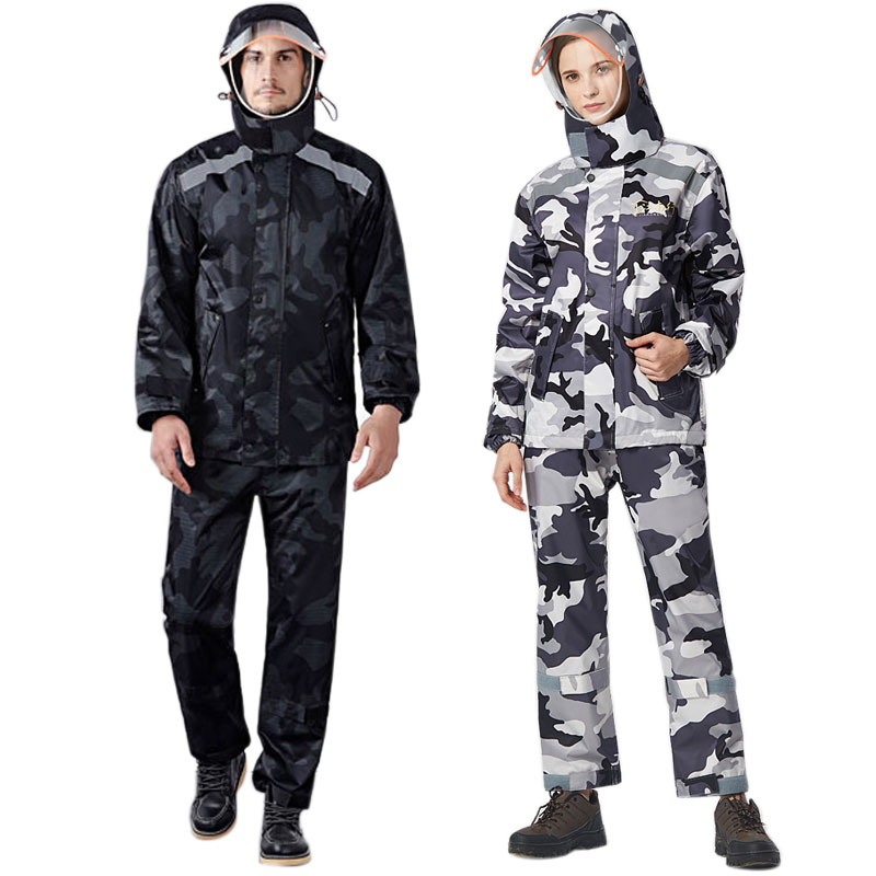 Unisex Water Resistant Rain Cover Rain Coat Pants Set Adults Cycling Fishing