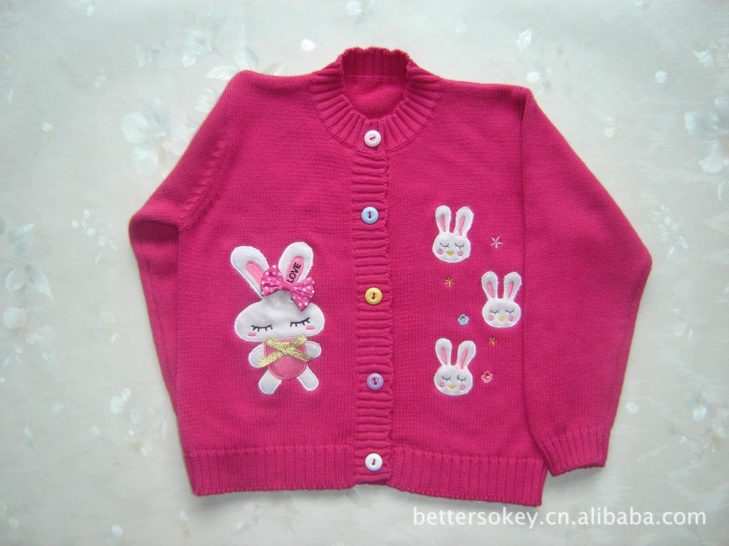 2018 New Style Brand Betopic Pure Cotton Embroidered Bunny Bow Infant CHILDREN'S Sweater