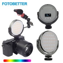 FOTOBETTER Adjustable LED Video Light Round RGB Full Color Fill Light Photography Lighting with Extend Magic Arm