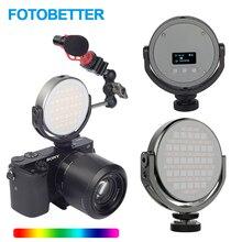 FOTOBETTER регулируемый светодиодный светильник для видеосъемки круглый RGB Полноцветный заполняющий светильник для фотосъемки