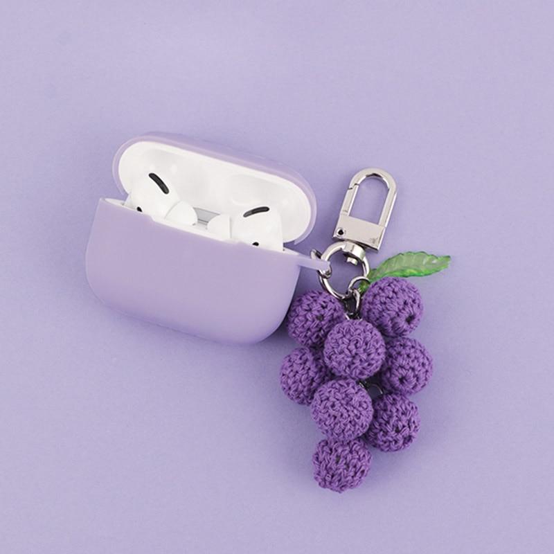 Милый фиолетовый виноград брелок Декор силиконовый чехол для Airpods Pro чехол Bluetooth наушники чехол для Apple Air pods Pro Аксессуары для наушников      АлиЭкспресс
