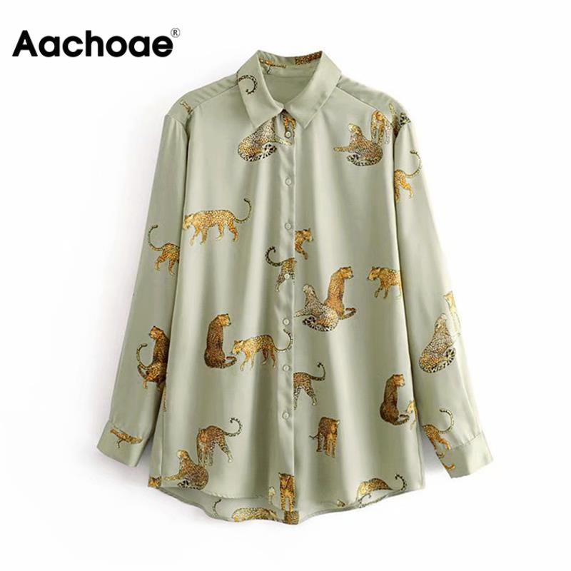 Aachoae Leopard Stylish Shirt Women Turn Down Collar Office Fashion Female Blouse Long Sleeve Plus Size Lady Tops Blusa Feminina(China)