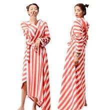 Albornoz largo de franela para mujer, bata de baño cálida, cómoda, para dormir de noche