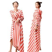 Femmes hiver longue chaude flanelle peignoir Robe de chambre confortable Robe de bain nuit vêtements de nuit femme Robe de nuit chemise de nuit